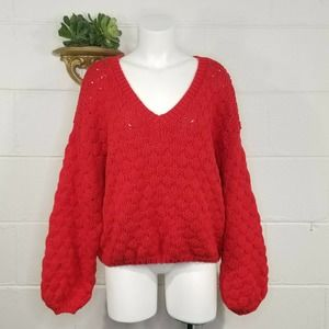 Pink Lily RED Chunky Knit V-Neck Sweater Puff Sleeves M